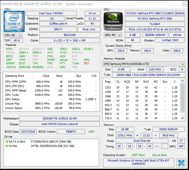 技嘉Aorus 15-W9 (i7-8750H, RTX 2060) 笔记本电脑评测
