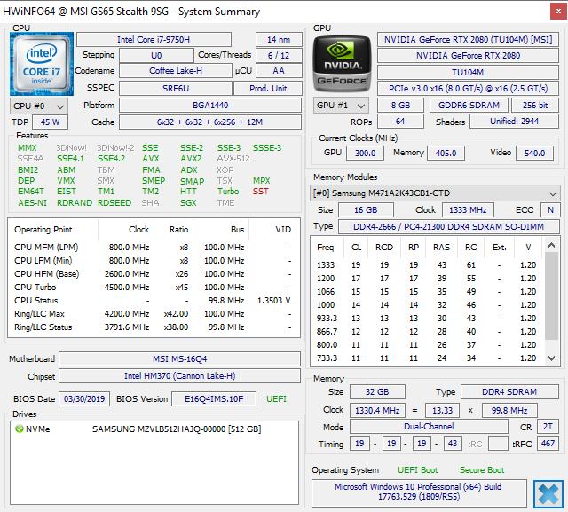 MSI GS65 Stealth 9SG (i7-9750H, RTX 2080 Max-Q) 笔记本电脑评测