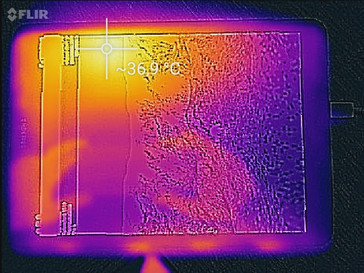 Samsung Galaxy Tab S3 thermal image under load with a Flir thermal camera