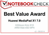 Best Value in September 2014: 华为 MediaPad X1 7.0