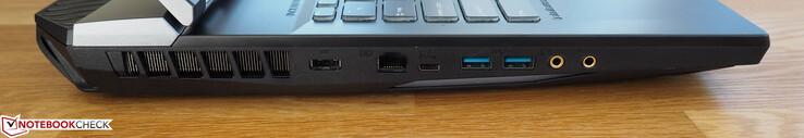 Left side: power socket, one Gigabit Ethernet port, one Thunderbolt 3 port, two USB 3.1 Gen2 Type-A ports, headphone jack, microphone jack